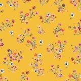 Katoen poplin flowers geel_