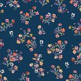 Katoen poplin flowers blauw_