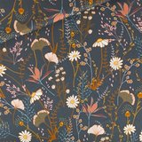 Flower Field - M - Katoen Gabardine Twill - Nachtblauw _