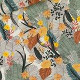 Tropic Flowers - L - Viscose - Krijtblauw_