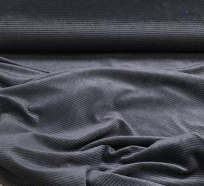 Rekbare ribfluweel: grijsblauw