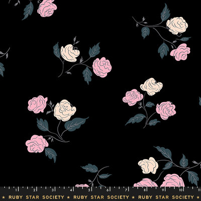 Ruby Star Rayon: Steno roses black