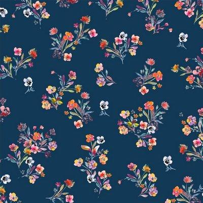 Katoen poplin flowers blauw