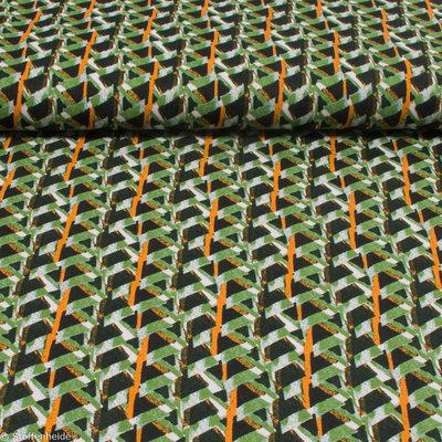 Orange lines on green