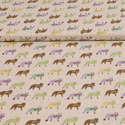 gekleurde vossen op canvas