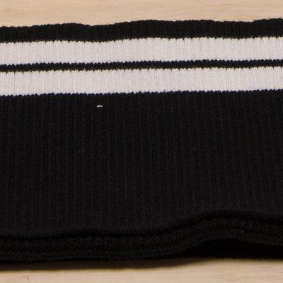 boordstof zwart met witte lijnen