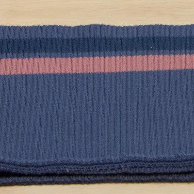 boordstof blauw met roze lijnen