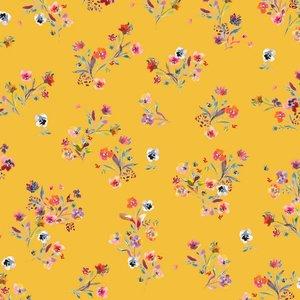 Katoen poplin flowers geel