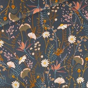 Flower Field - M - Katoen Gabardine Twill - Nachtblauw