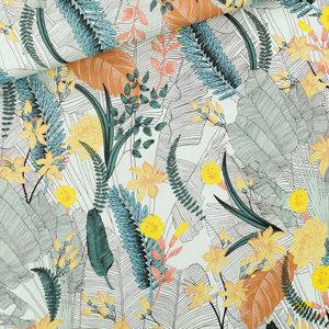 Tropic Flowers - L - Viscose - Krijtblauw