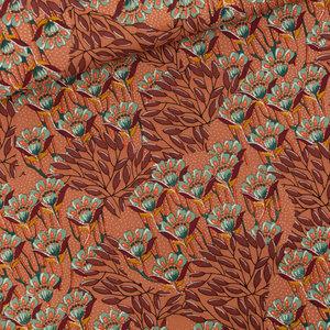 Gilly Flowers - M - Cotton Canvas Gabardine Twill - Zonnebrandbruin