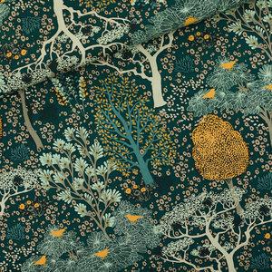 Oriental Garden - M - Cotton Canvas Gabardine Twill - Gevelgroen